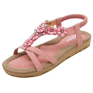 aaa95184069 Zicac Women s Open Toe Sandals Summer Bohemia Rhinestone Flower Bead Folk  Dunlop Sandals Boho Beach Flip