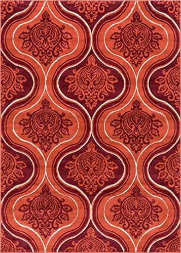 - Bolla Damask Orange Modern Moroccan Lattice Trellis Hand Carved Oriental Area Rug 5 x 7 (5'3
