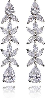 New Bridal  Silver /& CZ  Rhinestone Floral   3-12/'/' Hair Barrette Lever Back