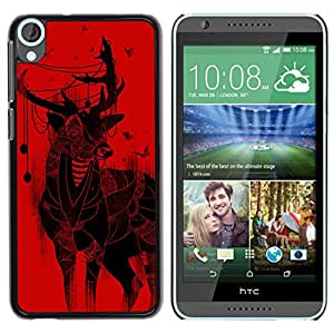 Qstar Arte & diseño plástico duro Fundas Cover Cubre Hard Case Cover para HTC Desire 820 ( Deer Christmas Art Drawing Red Butterflies)