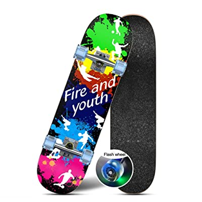 OFFA Skateboards Kids Skateboard 31 Inch Skateboard Complete Longboard Double Kick Skate Board Cruiser Maple Deck for Beginners Boys Girls Teens for Extreme Sports and Outdoors (Color : A): Home & Kitchen