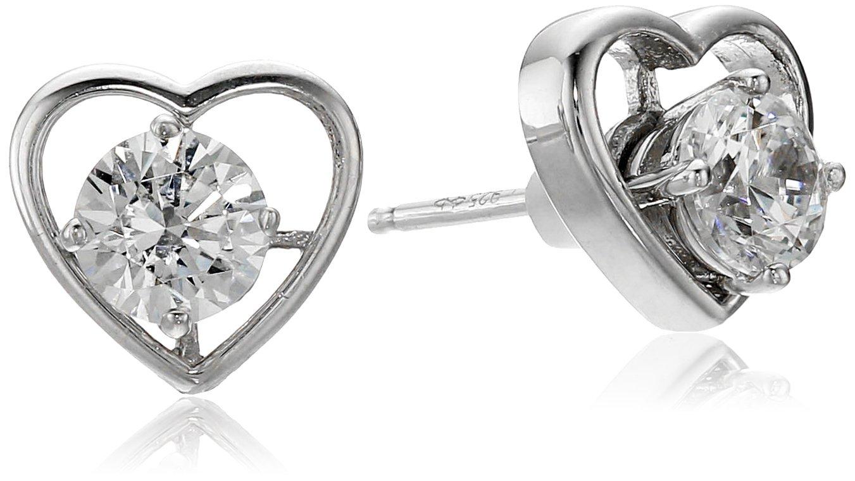 Platinum-Plated Sterling Silver Swarovski Zirconia Heart Earrings Jackets
