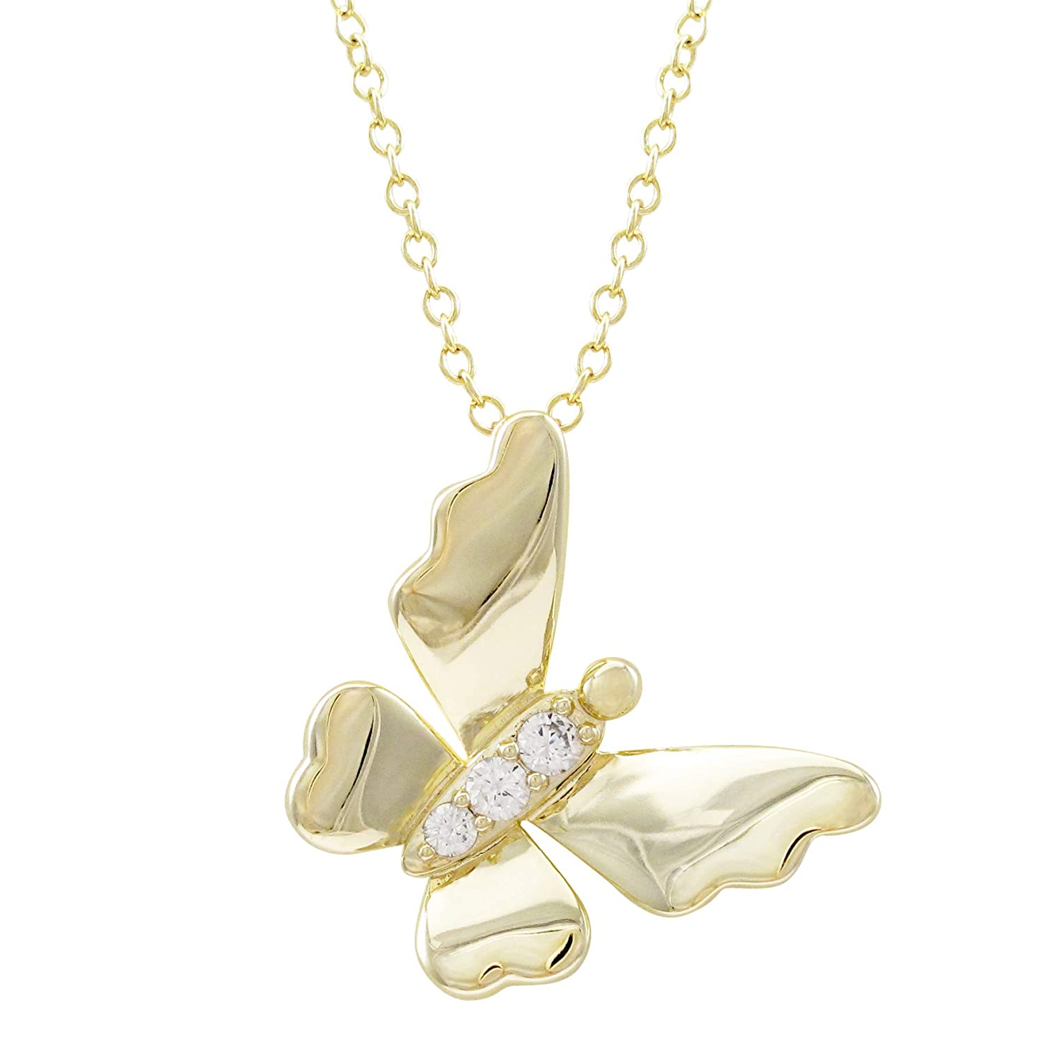 15+2 Extender Ivy and Max Gold Finish White Cubic Zirconia Butterfly Pendant Necklace