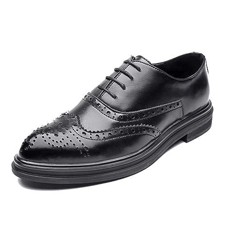 e0496705ce HILOTU Zapatos Oxford para hombre Casual Estilo británico Low-top Clásico  tallado Encaje Brogue Shoes