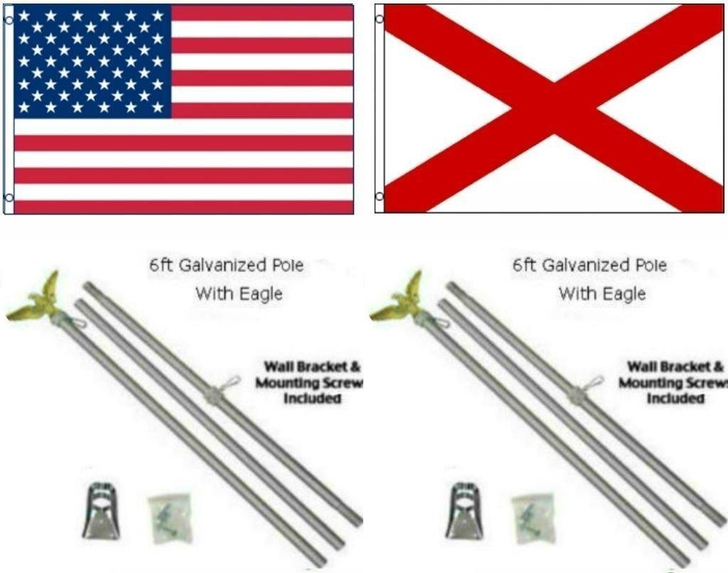 65%OFF【送料無料】 3 x 3 5 W 3 B01NCSG8JX ' x5 ' USA American W/アラバマ状態のフラグW/ 2つ6 '亜鉛メッキ旗竿ポールキットEagleトッパー B01NCSG8JX, ヨコハマふとん:a5e582a3 --- venuscreatives.in