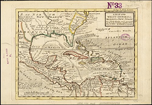 Historic Map | 1732 A map of the West-Indies et cetera. Mexico or New Spain : also ye trade winds, and ye several tracts made by ye galeons and flota from place to place | Antique Vintage Reproduction by historic pictoric