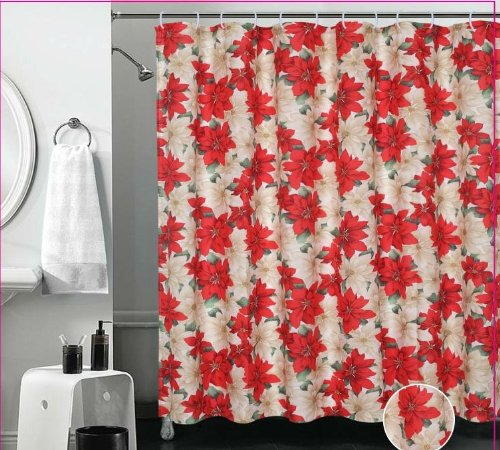 Violet Linen Decorative Christmas Printed Poinsettia Design Shower Curtain, 72