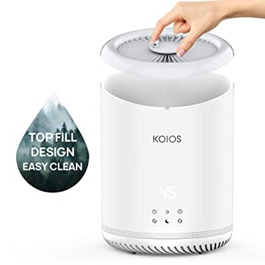 Upgrade KOIOS Top Fill Humidifiers, Ultrasonic Cool Mist Humidifier with humidistat, 3 Mist Levels, Ultra Quiet, Auto Shut-Off, Sleep Mode, with 4L Large Open Water Tank for Bedroom, Baby Room, Office