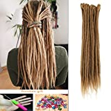 DSOAR Synthetic 20 Inch 12 Strands Handmade Dreadlocks Extensions Twist Braiding Hair Crochet Braids (Light Brown Color)