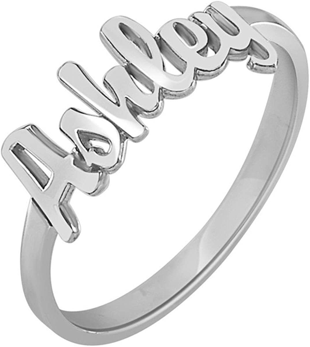 HACOOL 925 Sterling Silver Personalized Men Unisex Name Ring Custom Made with Any Names,Jewelry for Women