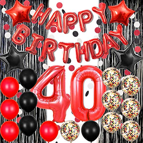 Black and Red 40th Birthday Decorations Red Happy Birthday Balloons Black Foil Fringe Curtain for Photo Booth Backdrop Paper Garland Red Number 40 Balloons 40 Birthday Decorations for Women Men (Birthday Foil Happy 40th)