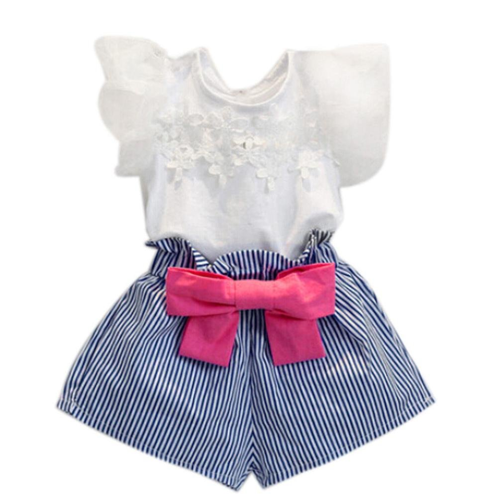 Viahwyt Girls Clothing Sets,2018 Latest fashion, Toddler Kids Children Baby Girls 2PCS Flutter Sleeve Tops Frill Lace Shirt Bowknot Straps Stripe Short Pants Casual Outfits (Blue, 3-4 Years)