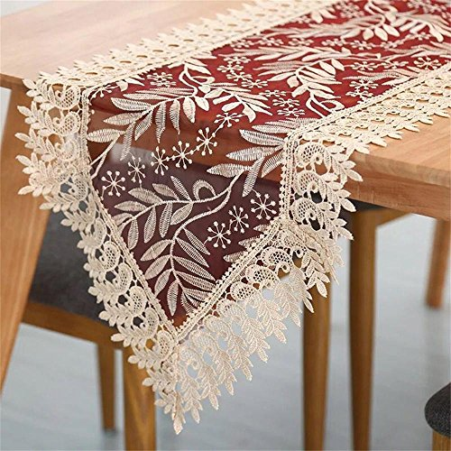 Miustyle Embroidered Lace Table Runner Gold Burgundy Home Kitchen Festival Décor (15