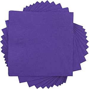 JAM PAPER Small Beverage Napkins - 5 x 5 - Purple - 50/Pack
