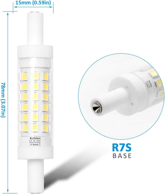 Lot de 2 500LM R/éfl/échissante Lin/éaire,230V AC J Type J78 Ampoule de Spot Projecteur Azhien Ampoule R7S LED 78 mm 5W Blanc Froid 6000K Pas dimmable,/Équivalent Lampe Halogene 30W 48W 60W