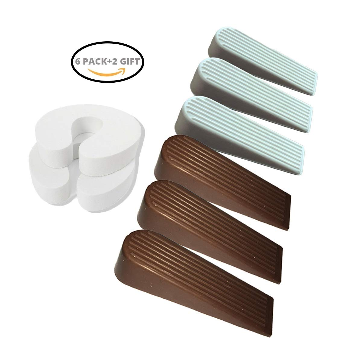 GashStore Heavy Duty Door Stop 6 Pack W/ 2 Bonus Finger Savers! Discreet Brown and White Rubber. Practical Solution to Hold a Door Open. for Use at Home or Work. for All Surfaces, Won't Leave Marks
