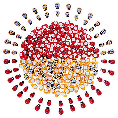 400pcs Tiny Wooden Bees Ladybugs Embellishments Flatback Self-Adhesive Ladybugs for Crafts Scrapbooking DIY Decor