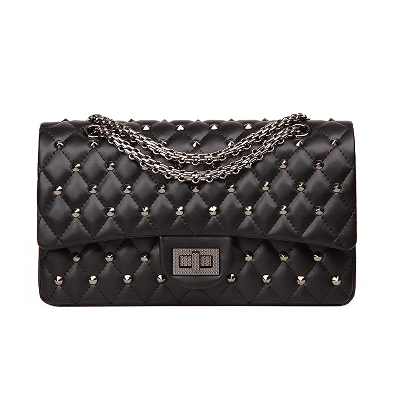 274c09139a4 85%OFF Ainifeel Women s Quilted Studded Genuine Leather Shoulder Bag With  Chain Strap Hobo Bag