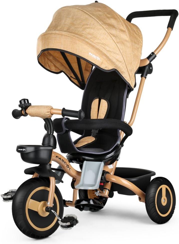Fascol Triciclo Bebé Plegable 4 en 1 Trike Bicicleta para Niños de 6 Meses a 5 Años Máx 30 kg (Dorado)