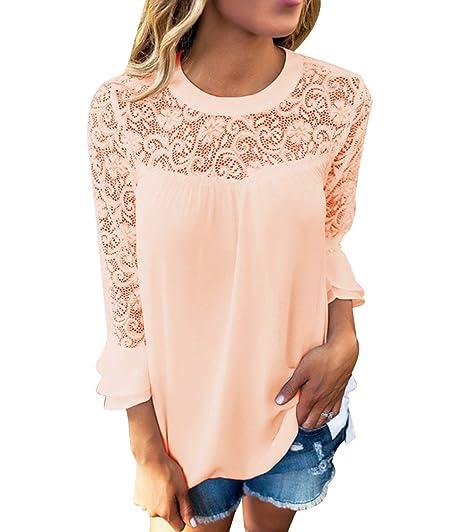 Blusa Gasa Cordón Blusas Manga Larga para Dama Camisas de Mujer Blusones Camisetas Largas Juveniles Top