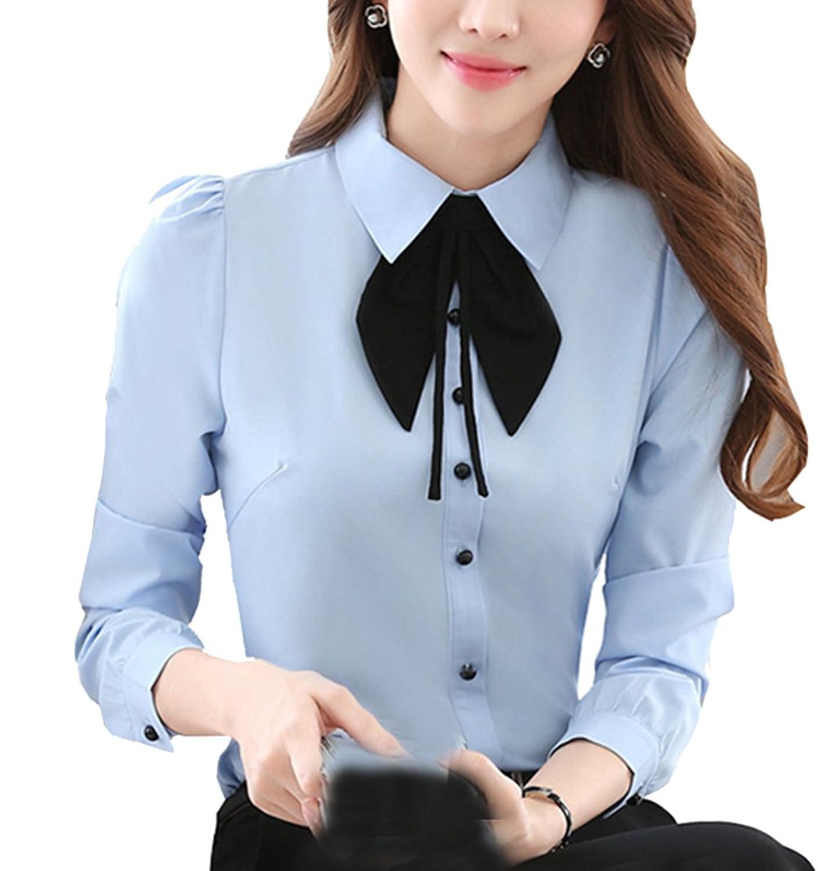 Cheerlife Elegant Damen Langarm Bluse mit Schleife Hemdbluse Slim Fit OL  Business Oberteil: Amazon.de: Bekleidung