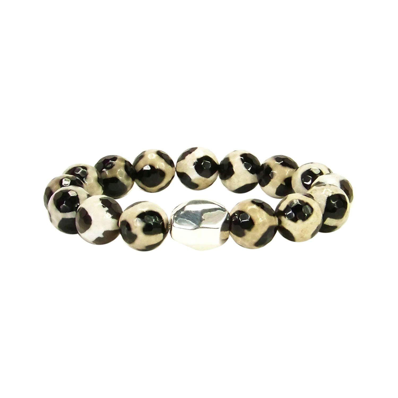 Simon Sebbag Beaded Stretch Bracelet in Tortoise Shell and Silver