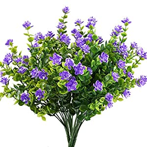 GTIDEA 4pcs Fake Plants Artificial Greenery Shrubs Eucalyptus Branches with Purple Baby's Breath Flower Plastic Bushes House Office Garden Patio Yard Indoor Outdoor Decor 88