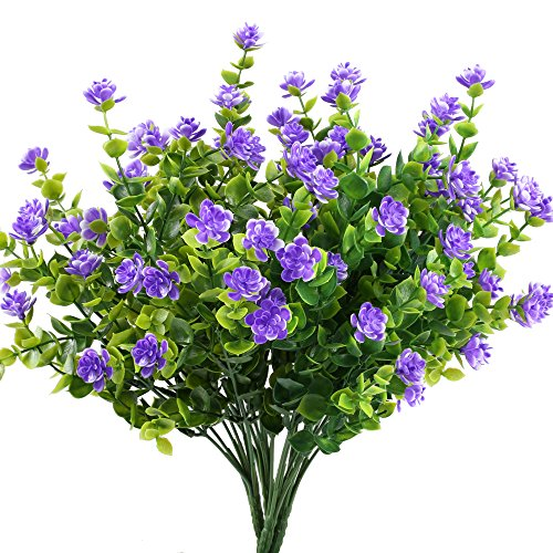 GTIDEA 4pcs Fake Plants Artificial Greenery Shrubs Eucalyptus Branches with Purple Baby's Breath Flower Plastic Bushes House Office Garden Patio Yard Indoor Outdoor Decor (Plastic Flower Purple)