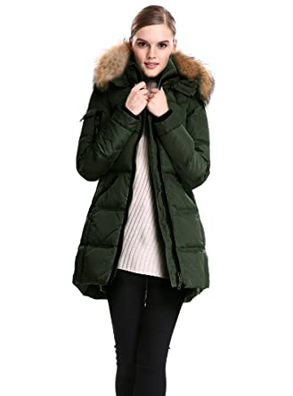 4fc325aa60cd Escalier Women s Down Jacket with Real Fur Hooded Thicken DownCoat Army  Green XS