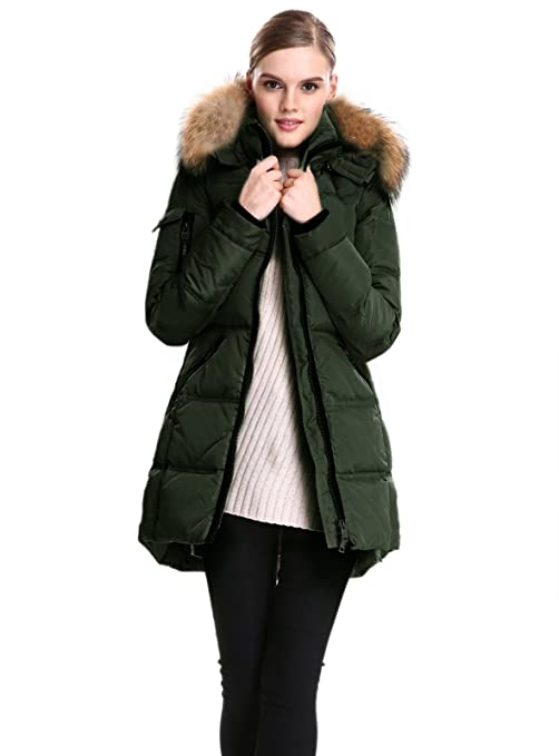 Esclier Women`s Winter Down Parka Jacket Real Fur Removable Hooded:  Amazon.ca: Clothing & Accessories