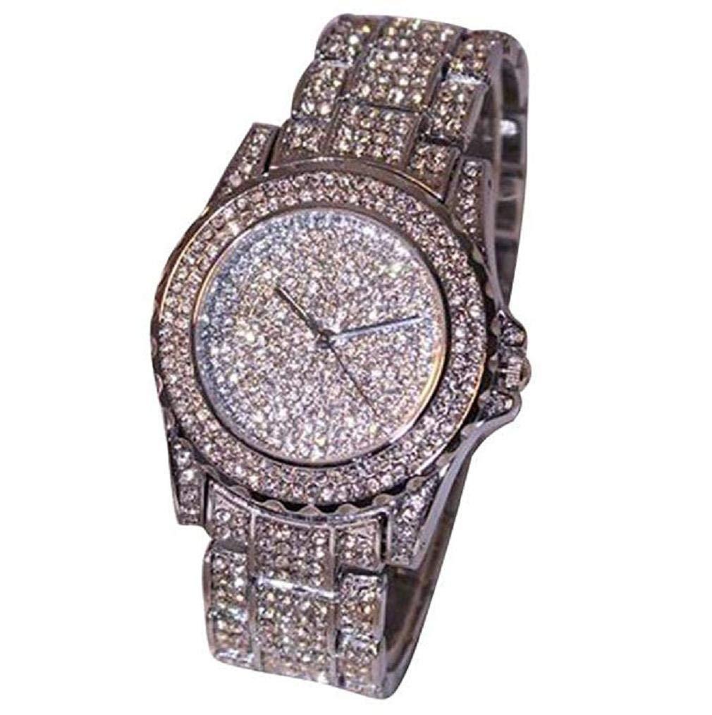 Fashion Clearance! Noopvan Luxury Women Watches Rhinestone Ceramic Crystal Quartz Watches for Lady Dress Decaration (Silver)