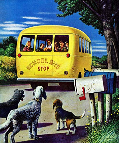 (Marmont Hill 36x30 School Bus by Stevan Dohanos Painting Print on Wrapped Canvas, 36