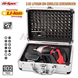 Picture of Hi-Spec Cordless 3.6V 1300mAh Li-ion Battery Power 4 LED Screwdriver & 102 Piece Insert Bit Set for Repair of Appliances, Electronic Gadgets, Toys, Laptops & Smartphones in Aluminium Case