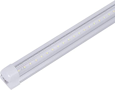 72 Watt T8 8 Foot Linkable Integrated Shop LED Tube Light Fixture V Shape 6000K