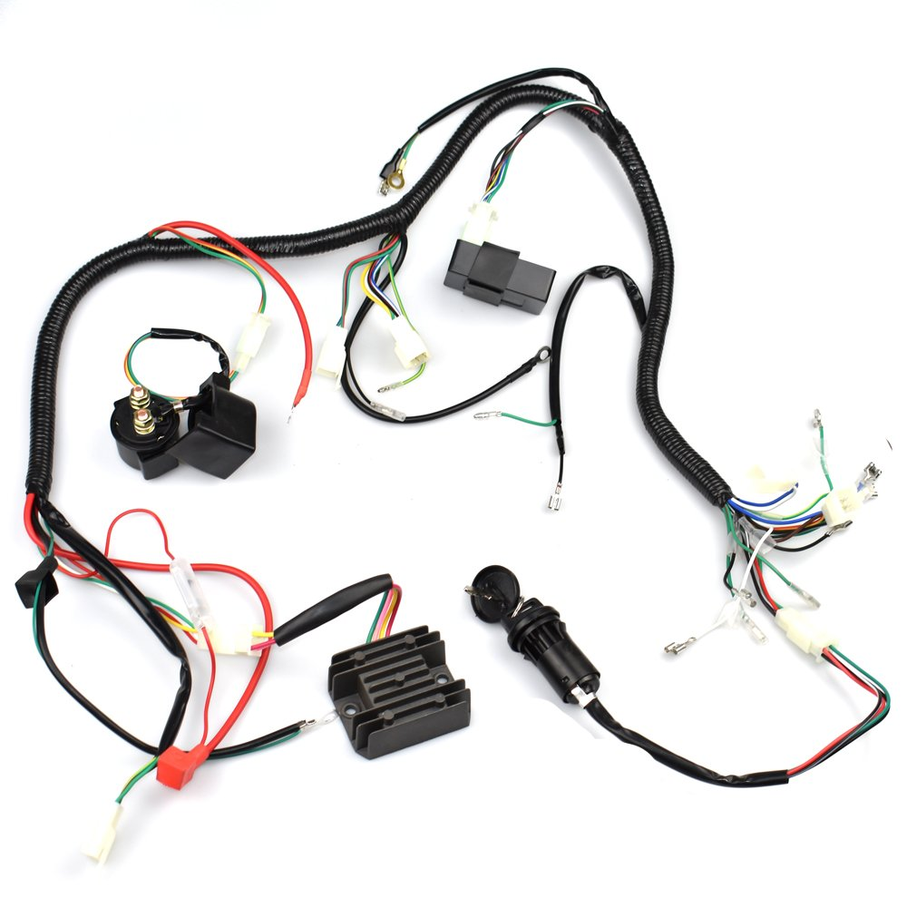 Complete Wiring Harness Kit Wire Loom Electrics Stator 125cc Atv Coil Cdi For Quad 4 Four Wheelers 150cc 200cc 250cc Go Kart Dirt Pit Bikes