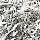 Black Cat Avenue 1 LB White & Silver Crinkle Cut Paper Shred Filler For Gift Wrap and Basket Filler
