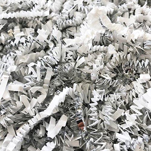 Black Cat Avenue 1 LB White & Silver Crinkle Cut Paper Shred Filler for Gift Wrap and Basket Filler ()