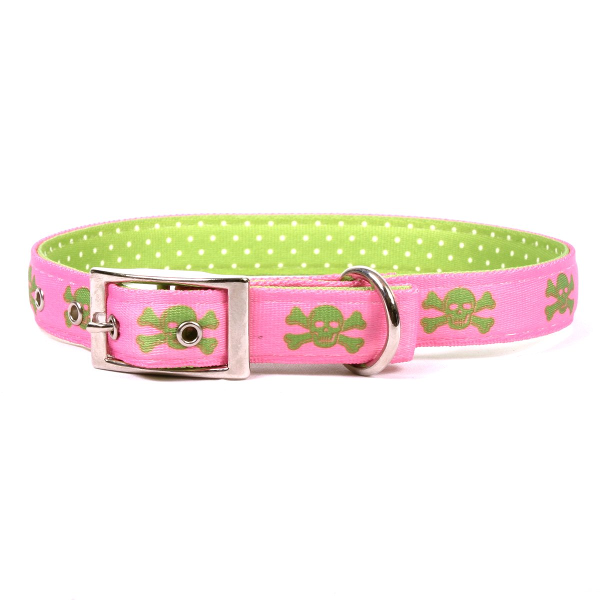 Yellow Dog Design Pink and Green Skulls Uptown Dog Collar, X-Large-1'' Wide and fits Neck Sizes 24 to 27'' by Yellow Dog Design
