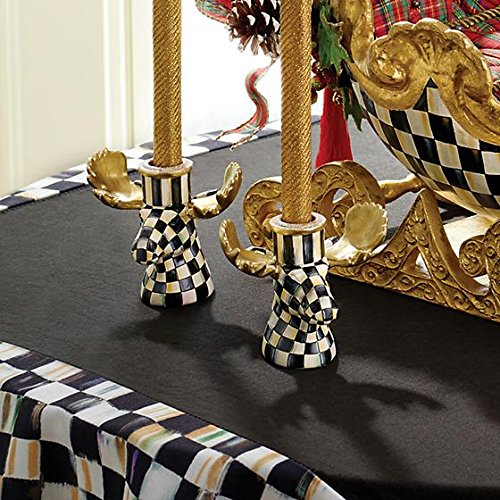 Courtly Check Moose Candlesticks, Set of 2, BLACK/WHITE