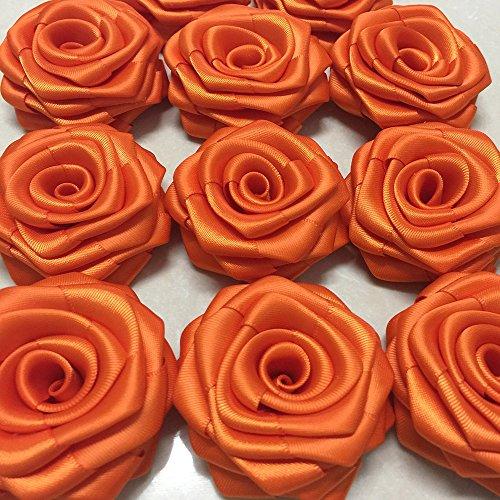 Black Satin Ribbon Rolled Rose 2.5 Floral Embellishment Satin Rosette Wholesale Flower fabric flower