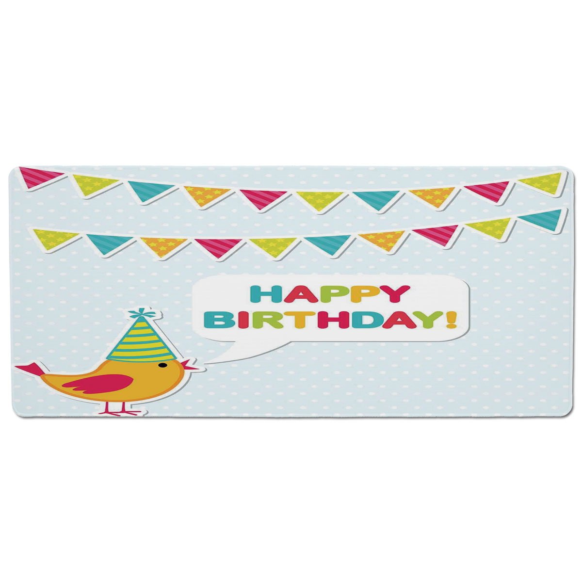 35.4\ iPrint Pet Mat for Food and Water,Birthday Decorations for Kids,Two Row Party Flag Cartoon Bird Happy Birthday Quote Image,Multicolor,Rectangle Non-Slip Rubber Mat for Dogs and Cats