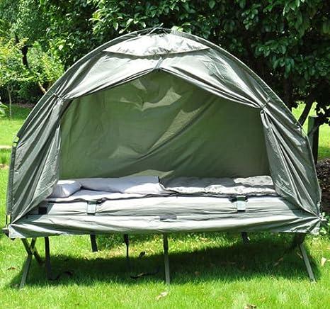 HOMCOM Tienda Campaña Camping Iglu + Tarima Flotante + Colchon Inflable y Bomba + Saco: Amazon.es: Hogar