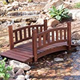Durable and Gorgeous Richmond 4-ft. Red Shorea Wood Garden Bridge with Arched Hand Rails - Assembly Required