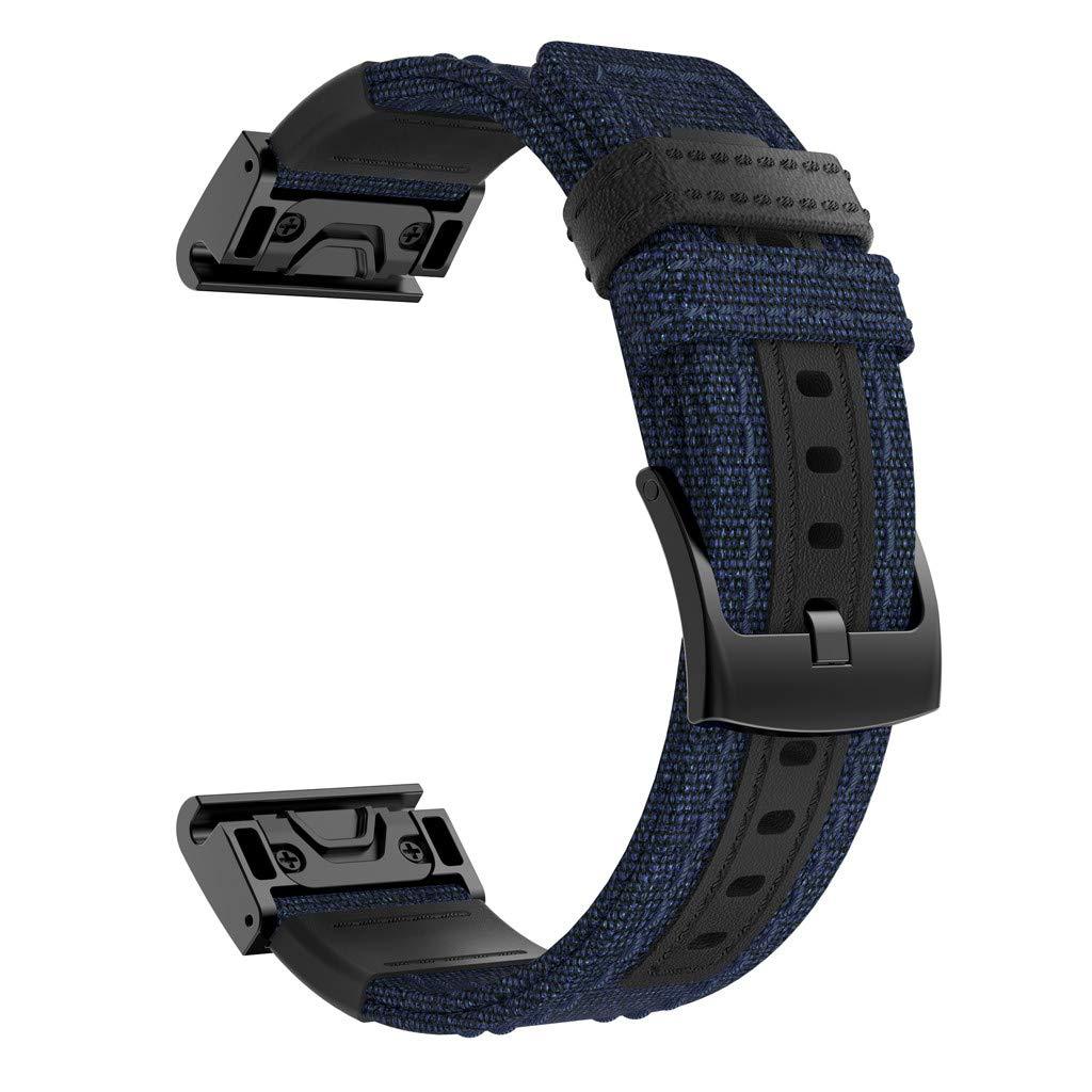 Woven Nylon Sweatproof Watch Band Strap for Garmin Fenix 5X/5X Plus/Fenix 3/3HR Blue by HJuyYuah