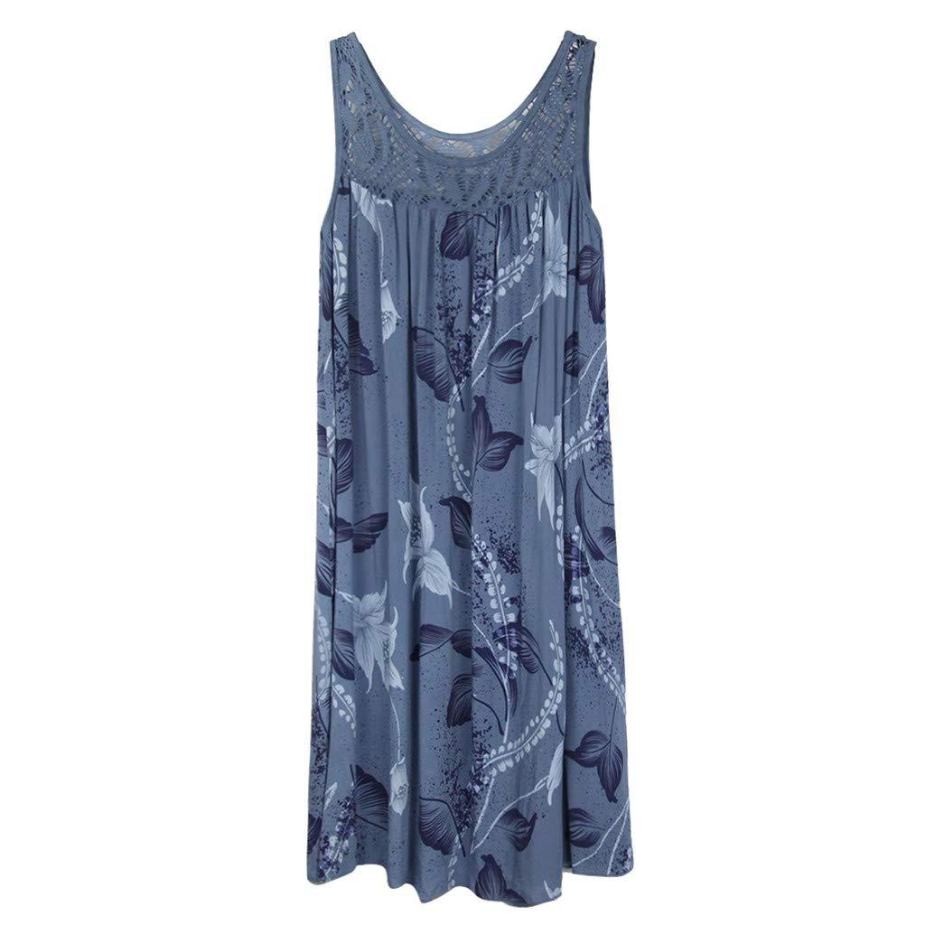 TnaIolral Women Lace Dresses Stitching Print Summer Sleeveless Skirt Blue