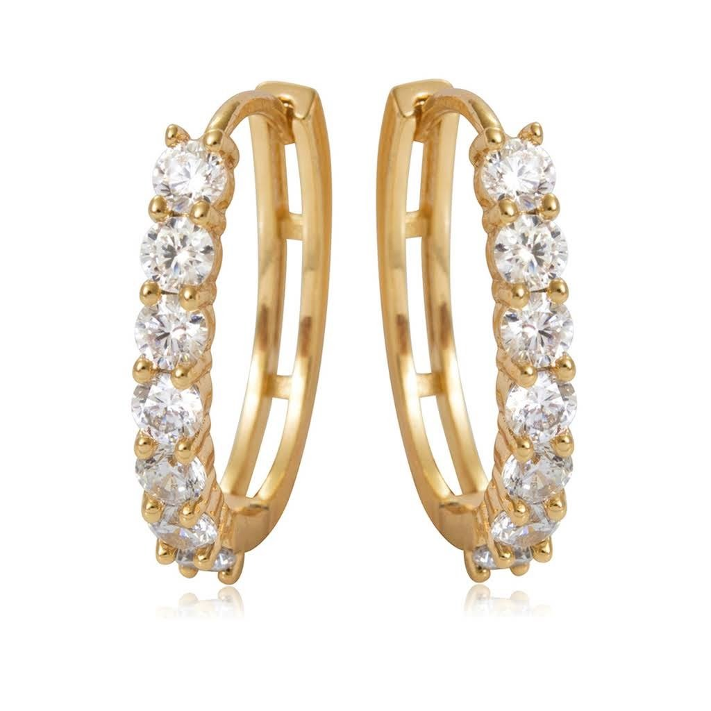Olenata Gold CZ Hoop Earrings for Women - Cubic Zirconia Gold Plated Earrings