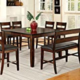 247SHOPATHOME IDF-3187PT-8PC Dining-Room-Sets, 6 Ch & 1 Bench