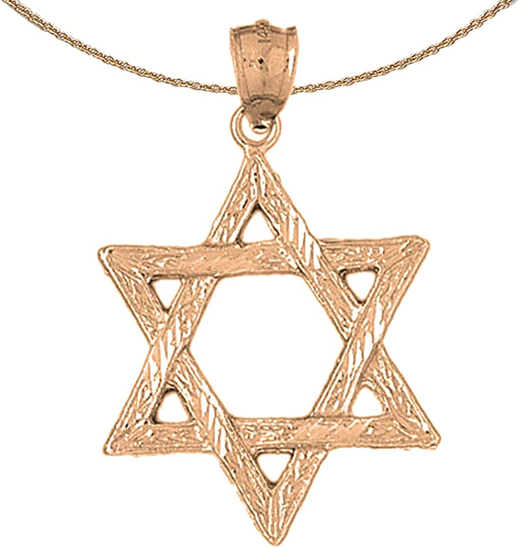 Rhodium-plated 925 Silver Star of David Pendant with 30 Necklace Jewels Obsession Star Of David Necklace