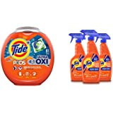 Tide PODS 4 in 1 HE Turbo Laundry Detergent, 61 Pacs W/Tide Antibacterial Fabric Spray, 3 Count, 22 Fl Oz Each