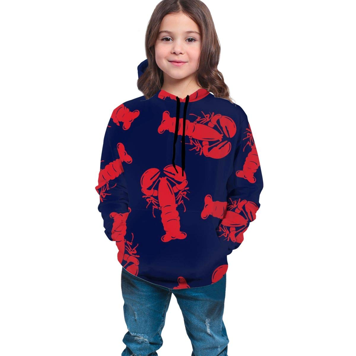 Funny Cool Pullover Hoodie Hooded Sweatshirt for Boys Girls Teens Junior, Long Sleeves Fitted 3D Pattern Print Sports Outwear (Boardshorts Red Lobster Hoodies) by YongColer